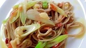 日本蕎麦でパスタ風②《長ネギと桜海老》