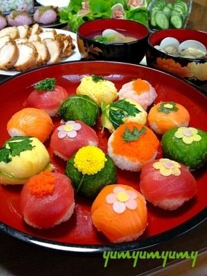手まり寿司です☆みんなで!美味しく楽しく可愛く♪ね