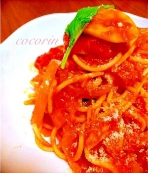 フライパン一つ!トマトとツナのガーリック煮込パスタ