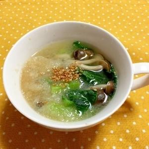 レンチンで簡単!小松菜としめじのおろしスープ♪
