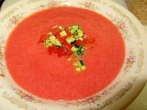 ミキサーでトマトとセロリのひんやりスープ