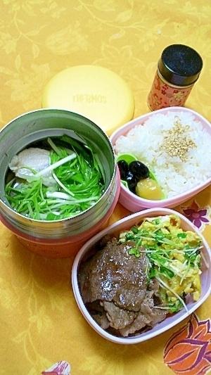 スープジャーで鶏もも肉ハリハリ風・牛ポン炒め弁当