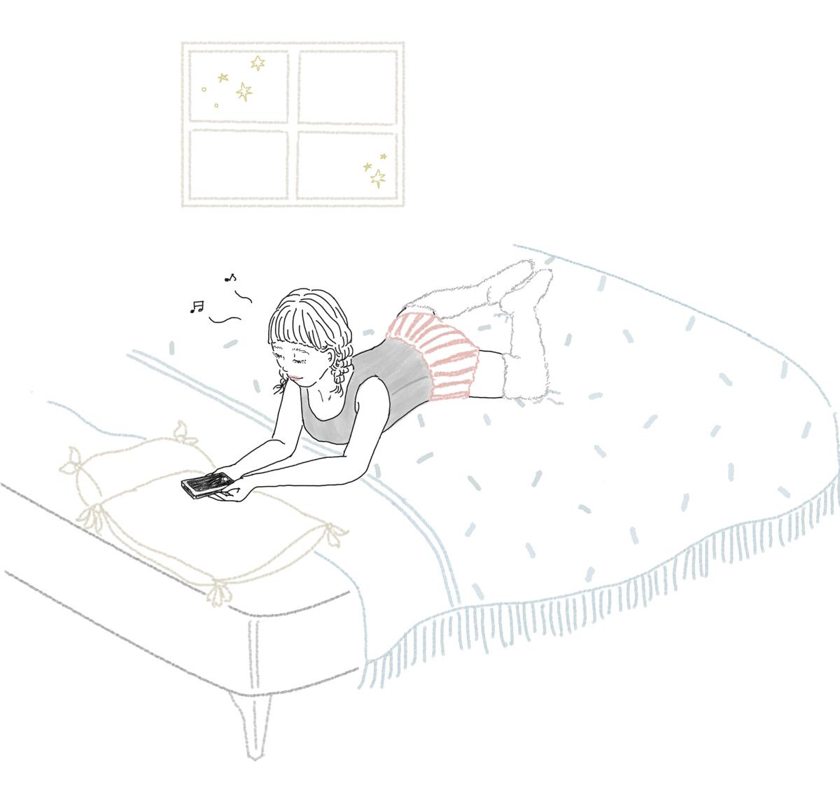 ベッドでスマホを見ながら…