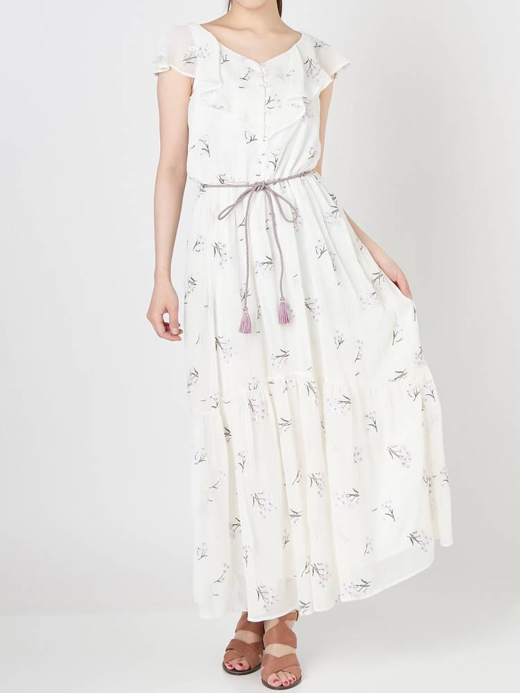 楊柳刺繍ロングワンピース