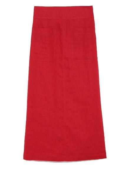 パッチポケットリネンタイトスカート