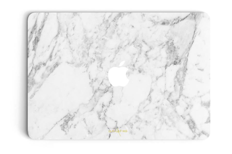UNIQFINDユニークファインド MacBook Air/Pro 13インチ スキンシール/保護シール Marble ホワイト