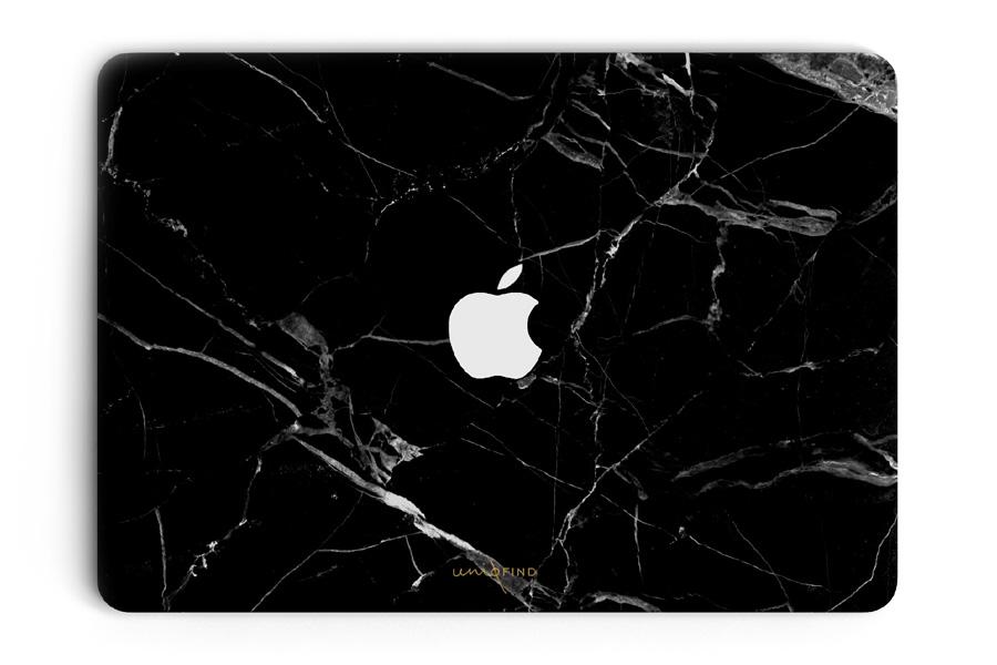 UNIQFINDユニークファインド MacBook Air/Pro 13インチ スキンシール/保護シール Hyper Marble ブラック