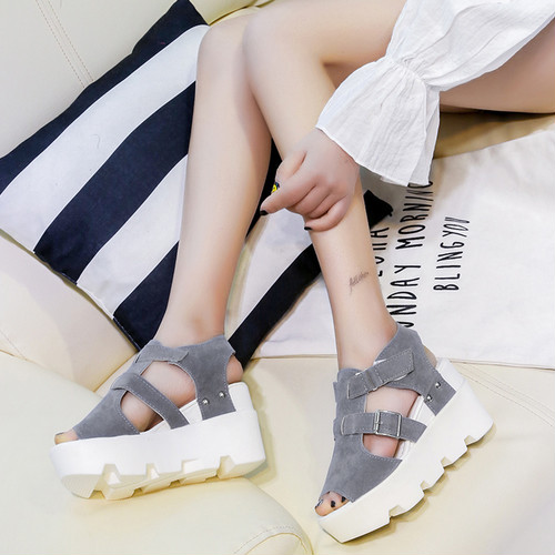 wedge thick‐soled sandals
