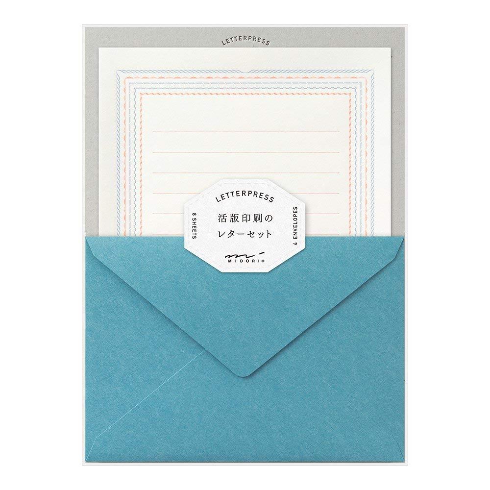 ミドリ レターセット 活版 フレーム柄 青