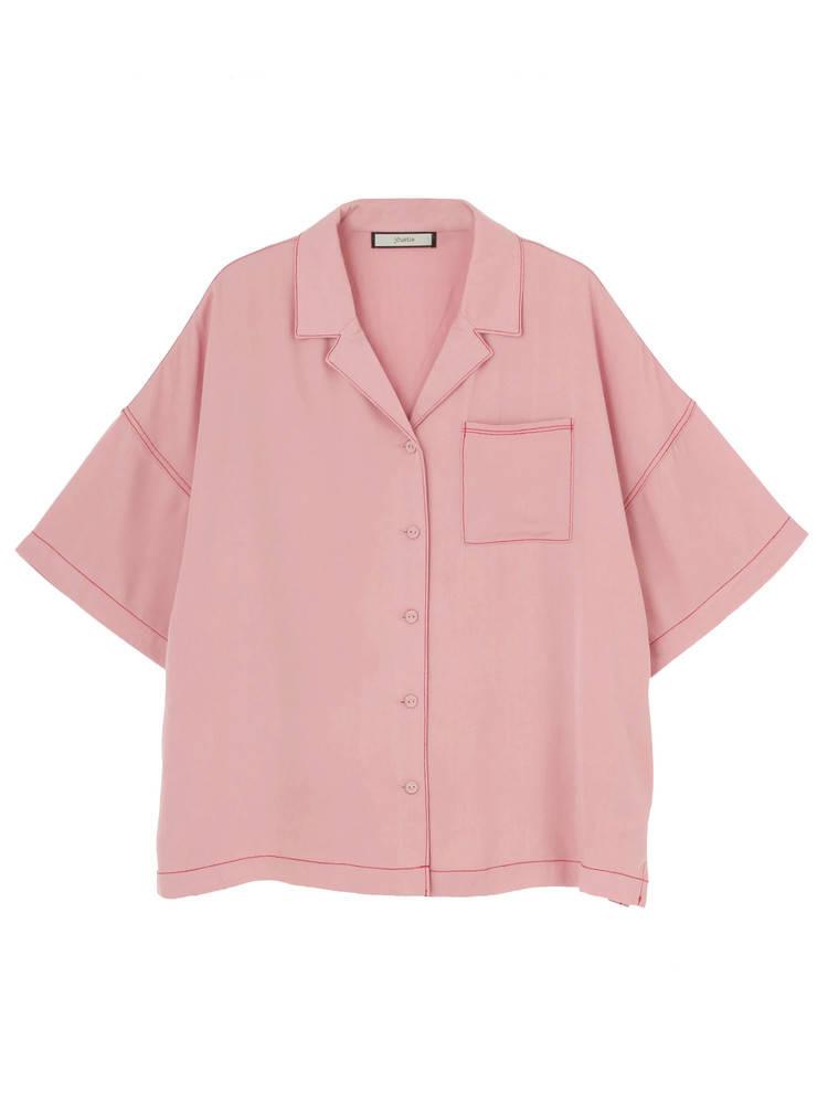 ステッチオープンカラーシャツ