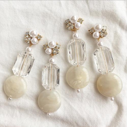 Pearl × crystal Swarovski × clear beads cream puff coin