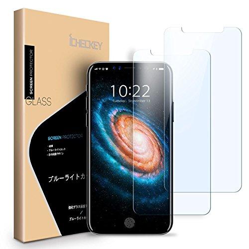 【2枚セット】iPhone X ガラスフィルム ブルーライトカット96% ICHECKEY