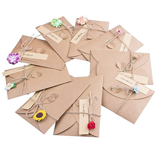 メッセージカード クラフト紙 封筒付き(9枚)