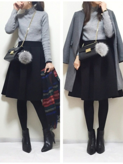 5)上品な可愛さ♡フレアスカート×グレーチェスターコート