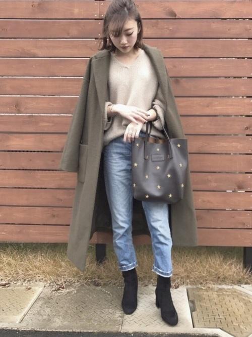 19)クールな薄色デニム×カーキチェスターコート
