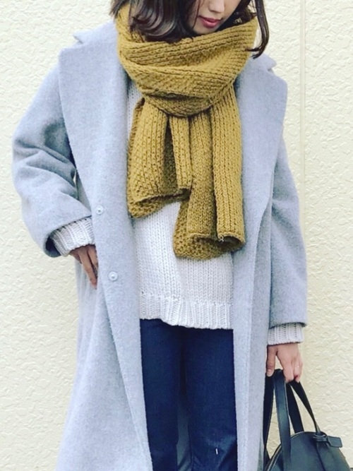 6)秋冬の差し色♡マスタードカラー×グレーチェスターコート