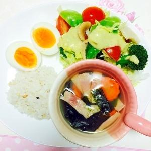 ダイエットに!雑穀米と温野菜とスープのワンプレート