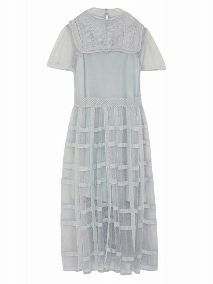 チェックレースドレス