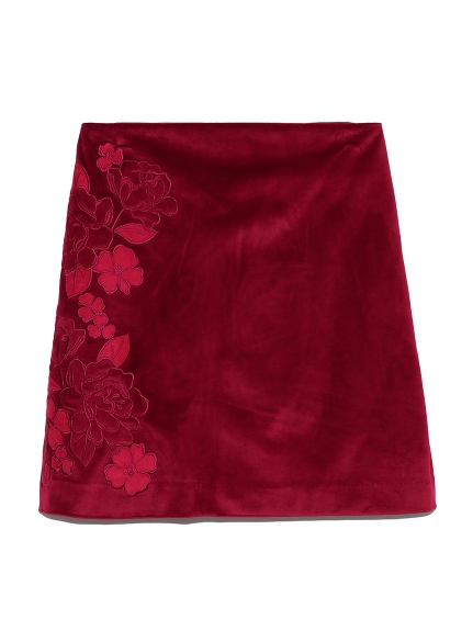 ベロア刺繍BOXスカート