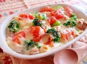 トマトとツナのヘルシー豆腐クリームグラタン♪