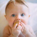 積み木を口に入れる赤ちゃん