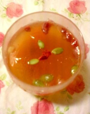 ☆・レモンドライフルーツ入りほうじ茶ゼリー☆*:・