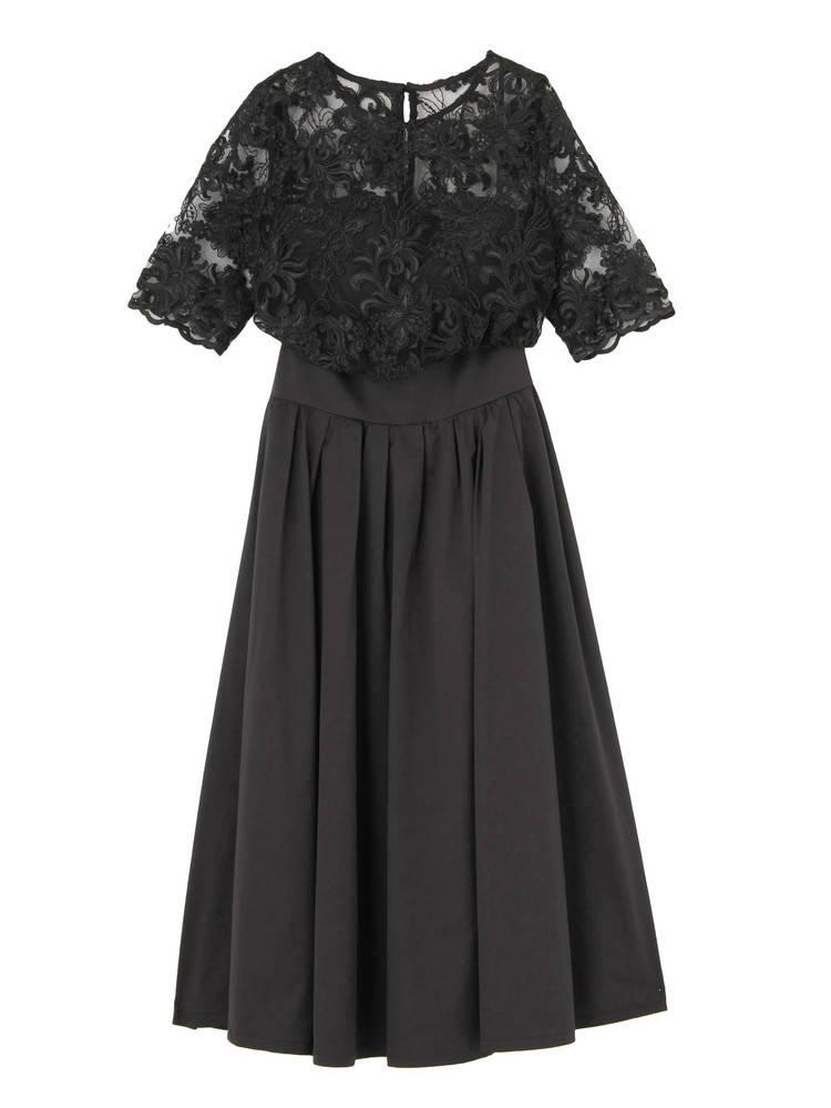 LADY オーバーレースギャザードレス