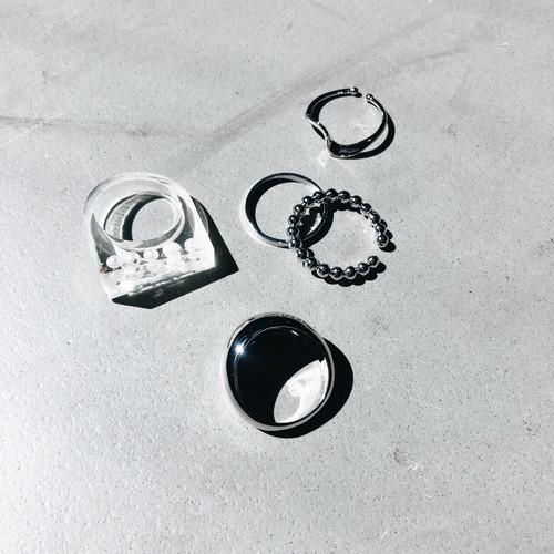 SET RING|| ROUND x ONE WAVE || 5 RINGS || SILVER SET || FRSS26
