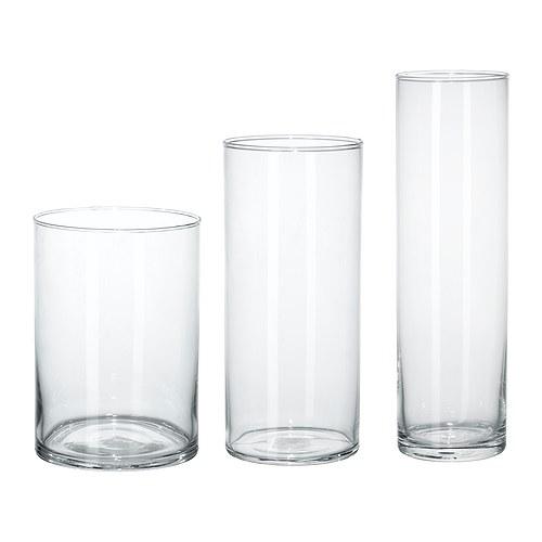 花瓶 3点セット クリアガラス