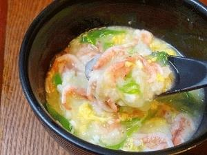 胃腸に優しい♪ 「生桜えびの卵雑炊」