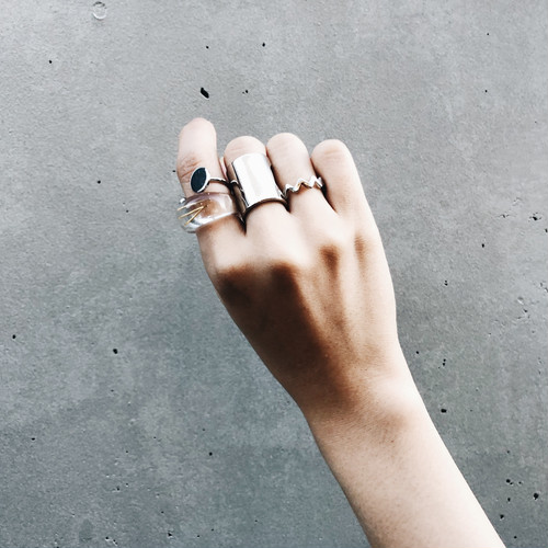SET RING || TWO TONE & WEAVY PUNK SILVER RING SET + CLEAR RING || FRSS57