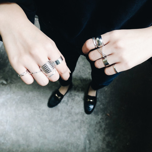 SET RING || SIX LINE x 4 SIMPLE SILVER RING || FRSS34