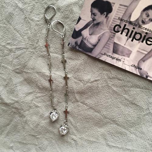 silver cross long pierce