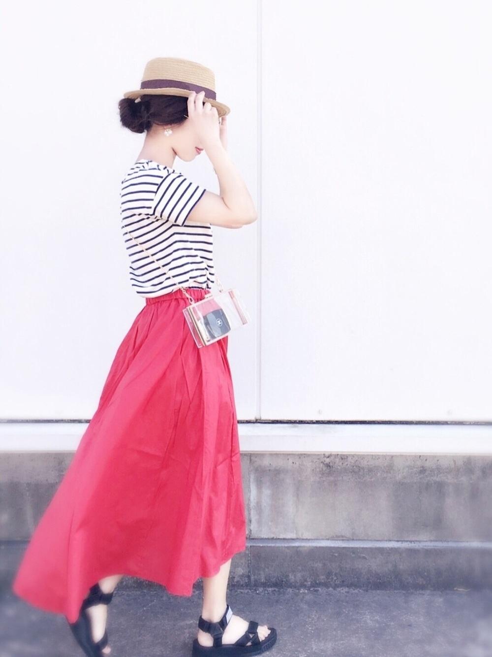フレアスカート×ボーダーシャツで爽やかに
