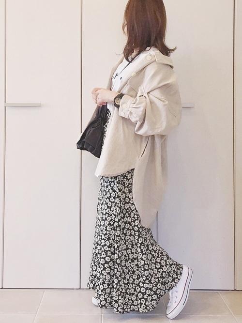 花柄Aラインスカート×ローカット
