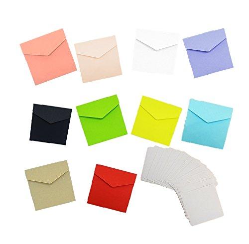 メッセージカード 20枚 つき カラー 封筒 10色 セット 手紙 便箋 レターセット (マルチカラー)