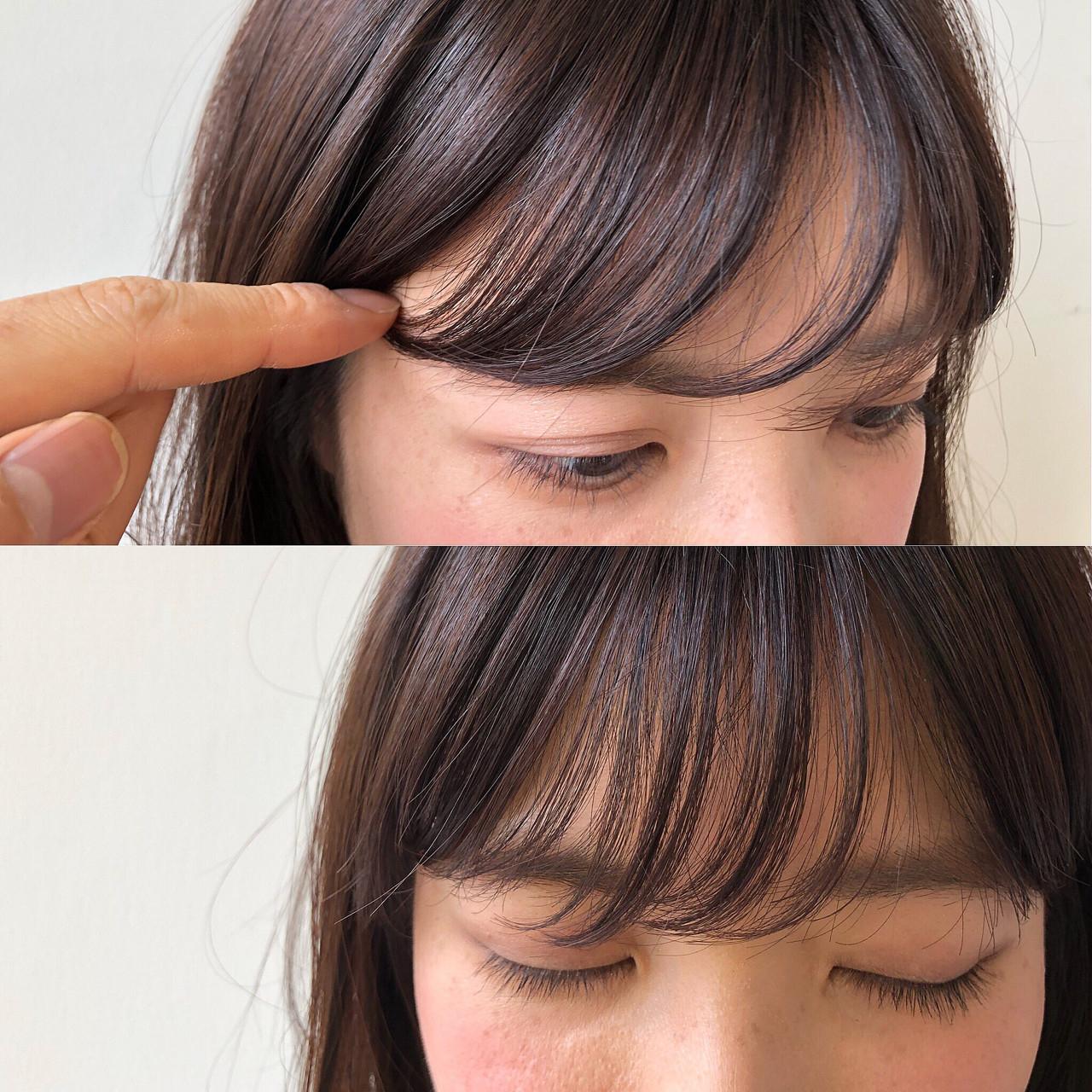 〈前髪を流す方向〉
