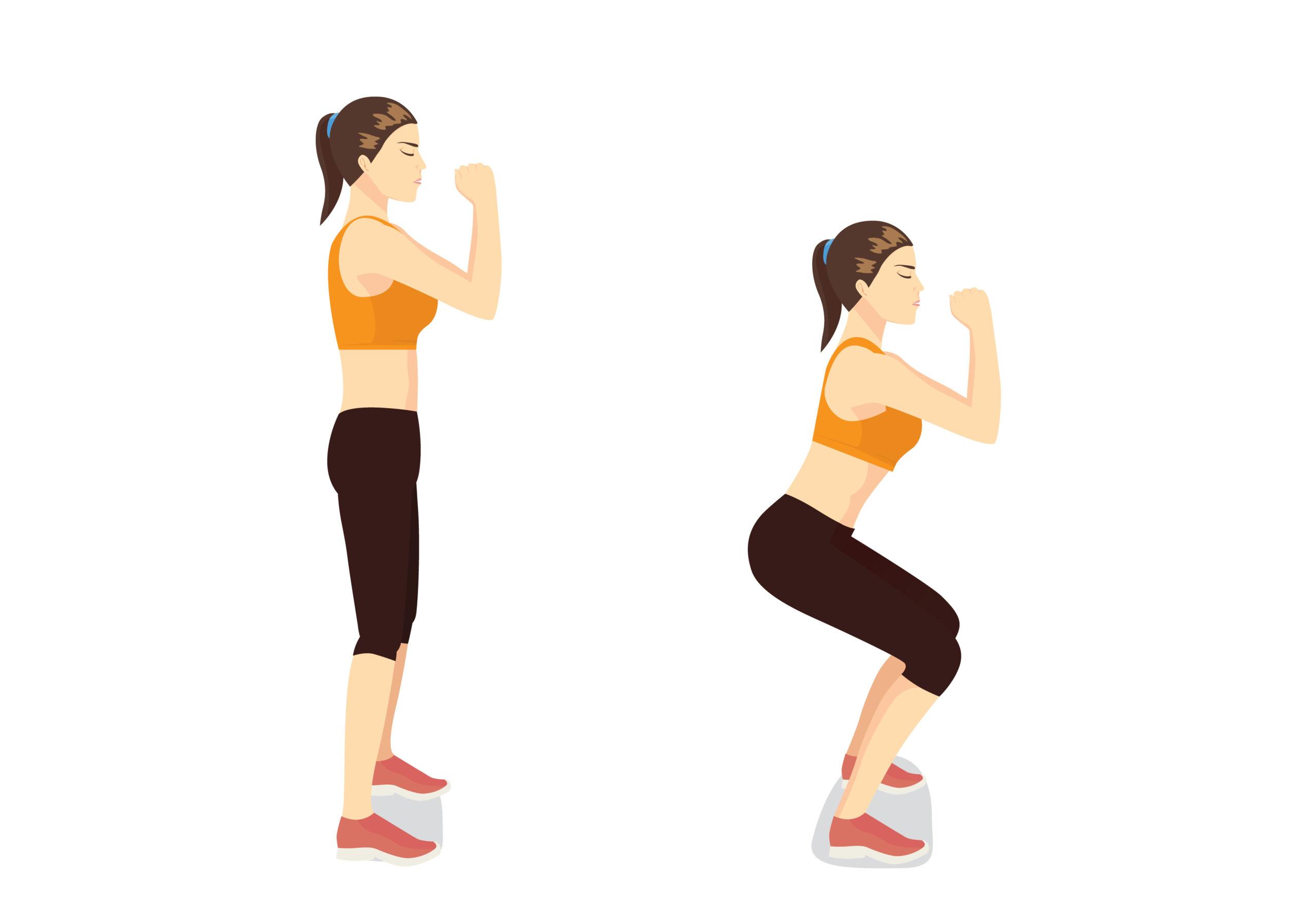 ②3分間 筋力運動(スクワット)