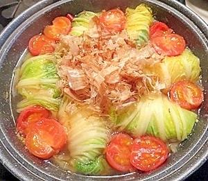 美味しい!ロール白菜とミニトマトのタジン鍋