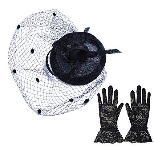 トーク帽 手袋 セット アクセサリー (黒)