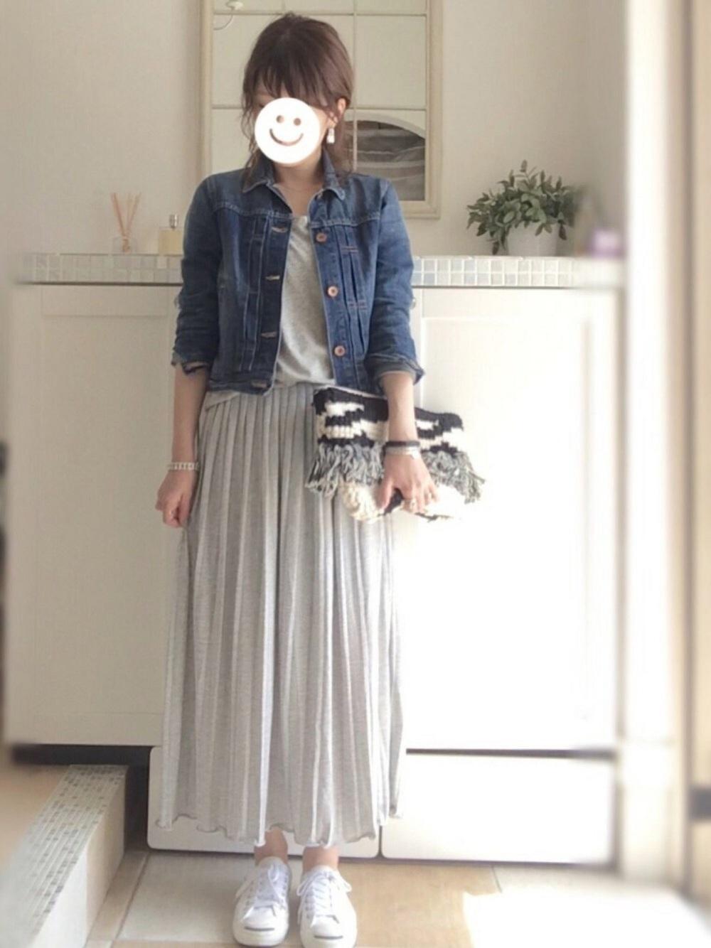 グレープリーツスカート×デニムジャケット
