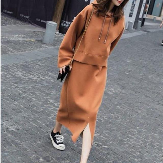 ブラウンパーカー × ブラウンスカート
