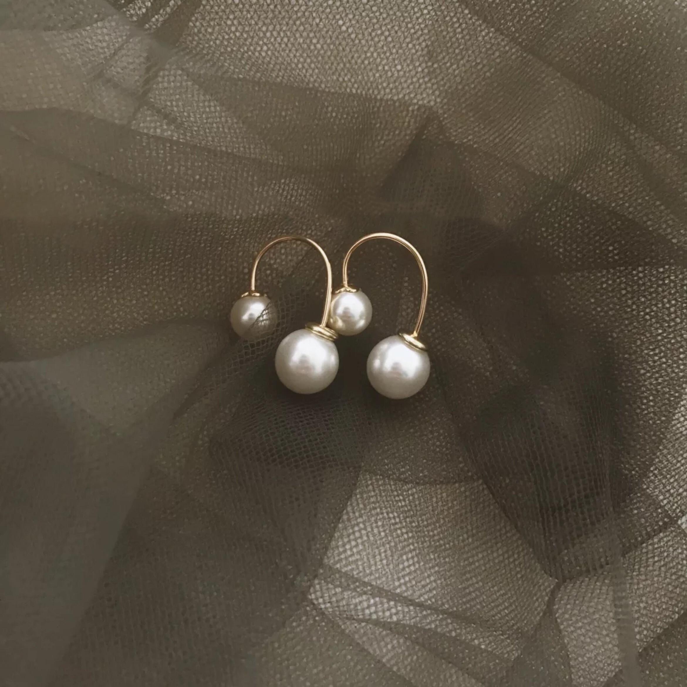 Vintage rétro Gold pearl U shapr stud earrings