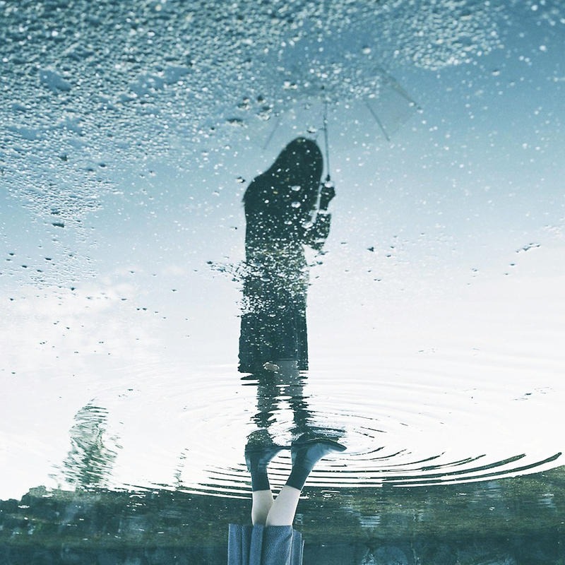 迷惑でない、傘の持ち方・雨粒の落とし方