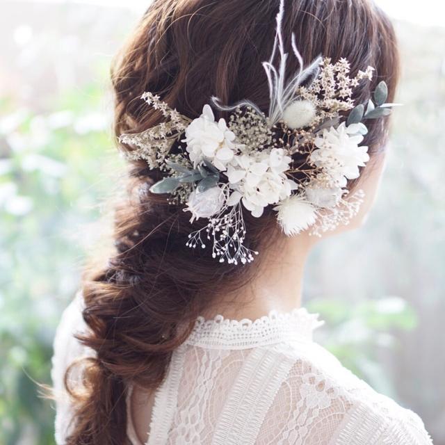 くすみホワイトのヘッドドレス