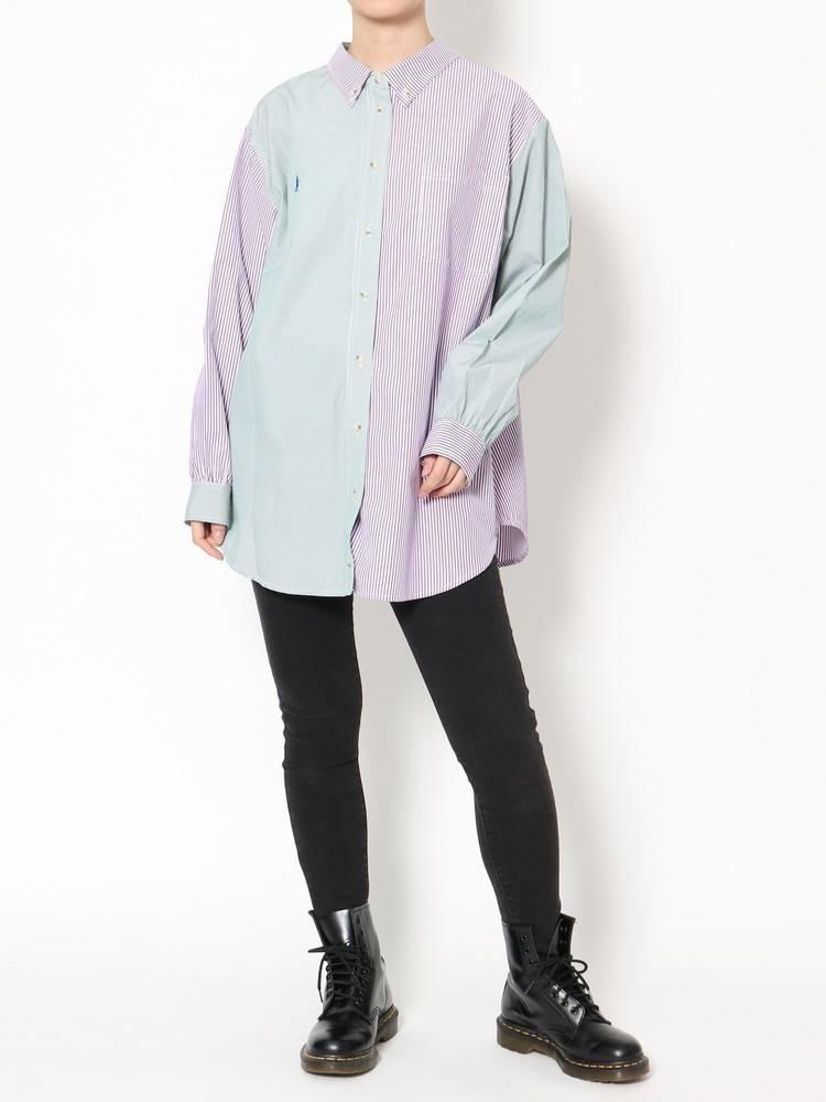 パープルストライプシャツ×黒スキニーパンツ