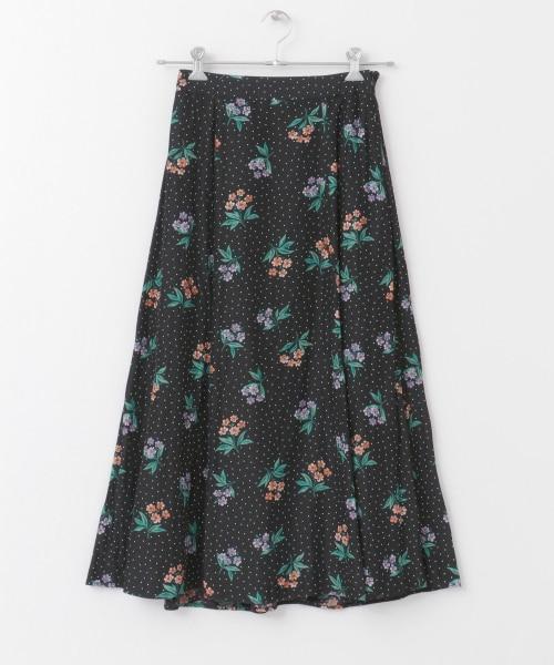 フラワードットプリントスカート