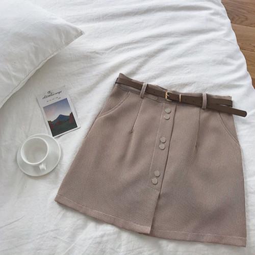 ベルト付き チェック柄スカート