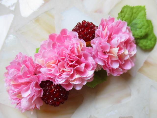 ピンク色お花のバレッタ・ワニクリップ