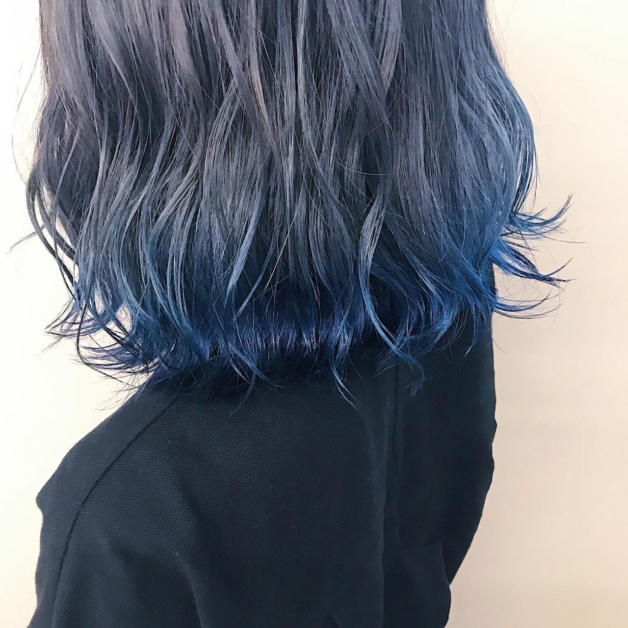 ブルーアッシュを裾カラーに